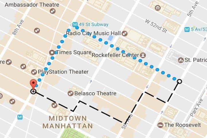 Ruta que seguiría un neoyorquino para llegar al sitio
